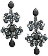 Givenchy Hematite-Tone Pave & Black Stone Chandelier Earrings
