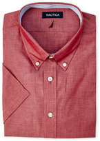 Nautica Red Chambray Short Sleeve Dress Shirt