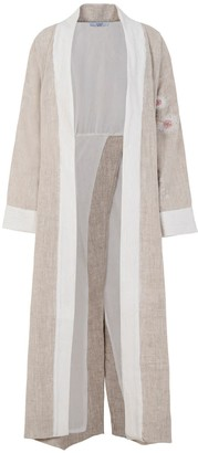 A Line Clothing Long Embroidered Kimono
