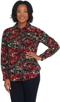 Denim & Co. Floral Print Button Front Stretch Woven Shirt