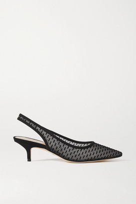 Stuart Weitzman Vea Mesh And Suede Slingback Pumps - Black