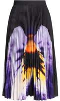 Christopher Kane Printed Plisse Cady Midi Skirt