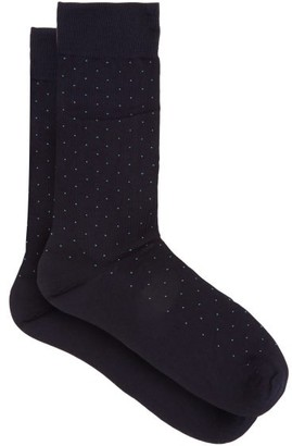 Pantherella Gadsbury Pin-dot Socks - Navy