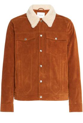 Frame Shearling-Trimmed Suede Jacket