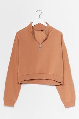 Nasty Gal Womens Get Zip Done Cropped Sweatshirt - Beige - S