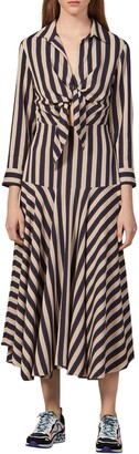 Sandro Vilna Stripe Long Sleeve Midi Dress