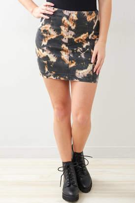 Free People Black Tie Dye Modern Femme Denim Mini Skirt Black Multi 4