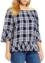 Westbound Plus Plaid Peplum Top