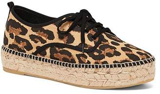 Loeffler Randall Women's Alfie Leopard-Print Espadrille Flatform Lace-Up Sneakers
