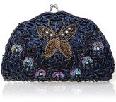 BMC Womens Tiny Bead Encrusted Butterfly Design Clutch Evening Bag