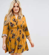 Club L Plus Mustard Printed Floral Day Dress With Collared Detail and Long Sleeves.