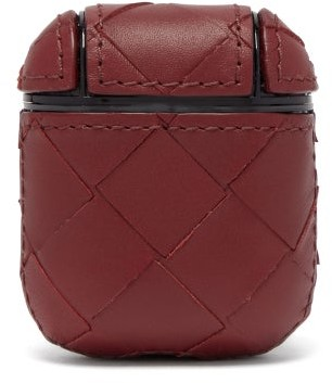 Bottega Veneta Intrecciato Leather Airpods Case - Burgundy
