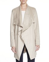 Basler Faux Suede Draped Long Jacket