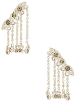 Luv Aj Posie Dangle Crawler Earrings in Metallic Silver.