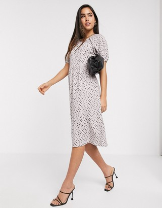 Y.A.S textured midi dress in spot print