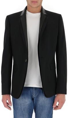 Les Hommes Leather Trim Detailed Blazer