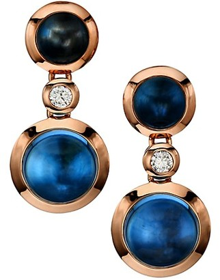 Tamara Comolli Bouton 18K Rose Gold, Swiss Topaz, London Topaz & Diamond Triple-Drop Earrings