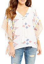 O'Neill Sol Ikat Print Lace Up Fringe Poncho