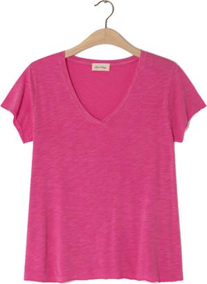 American Vintage Jacksonville V Neck Pink T Shirt - X Small