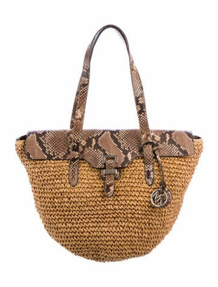 MICHAEL Michael Kors Leather-Trimmed Raffia Tote Brown