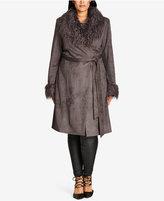 City Chic Trendy Plus Size Faux-Suede Coat