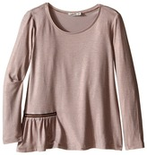 Junior Gaultier Long Sleeves Tee Shirt with Zipper Detail Girl's T Shirt