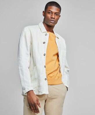 Todd Snyder Garment Dyed Linen Chore Coat in White