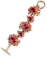Oscar de la Renta Tiered Crystal Toggle Bracelet, Hot Pink