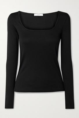 Vince Pima Cotton And Modal-blend Jersey Top - Black