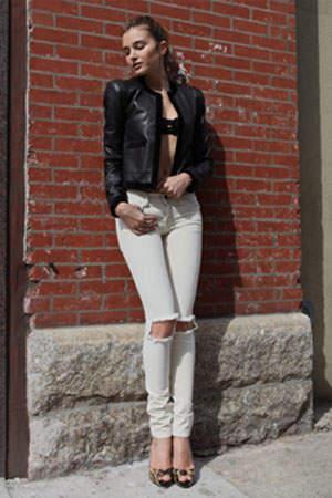 Alexander Wang Classic Leather Combo Jacket w/Velvet Back