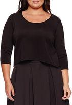 Boutique + Ashley Nell Tipton for Boutique+ 3/4-Sleeve Scuba Crop Top - Plus