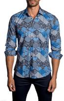 Jared Lang Mixed-Print Long Sleeve Trim Fit Shirt