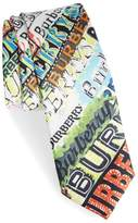 Burberry Stanfield Tag Print Silk Skinny Tie