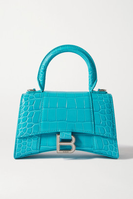 Balenciaga Hourglass Xs Croc-effect Leather Tote - Turquoise
