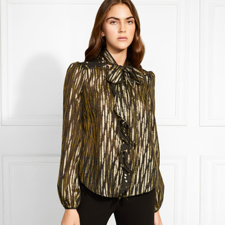 Rachel Zoe Powell Metallic Fil Coupe Blouse