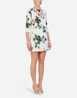 Dolce & Gabbana Cady Fabric Mini Dress In Tropical Rose Print