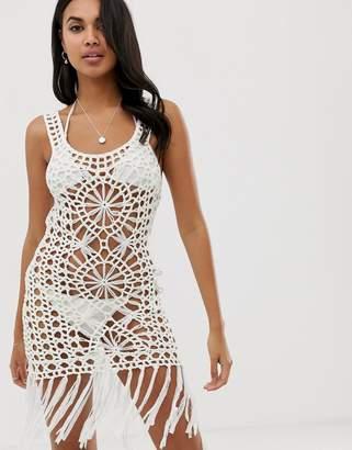 Glamorous crochet beach dress in white