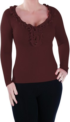 Eyecatch - Womens Classic Ruffle Neck Fitted Stretch Jumper Pullover Ladies Sweater | Dark Mocha S/M