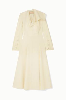 MATÉRIEL Button-detailed Ruffled Wool-blend Midi Dress - Ivory