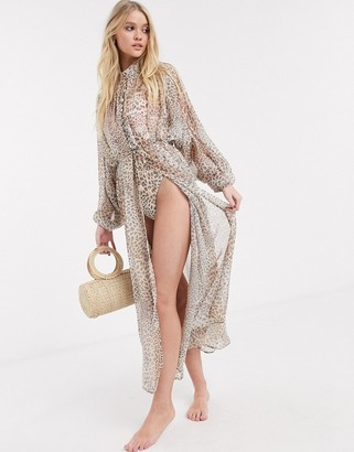 Power 2 The Flower tie front beach kimono in leopard print
