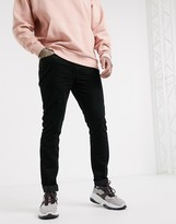 Topman super skinny cord trousers in black