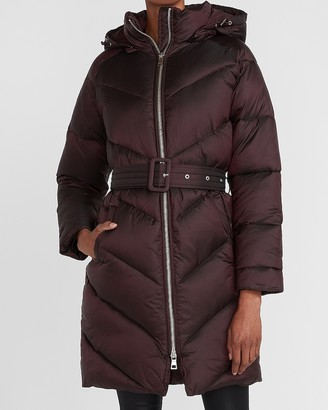 Express Long Belted Puffer Coat