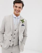 French Connection wedding slim fit plain linen suit jacket-Grey