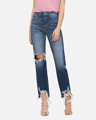 Express Flying Monkey Super High Waisted Ripped Straight Jeans