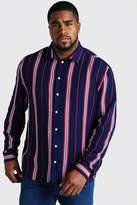 BoohoomanBoohooMAN Mens Navy Big & Tall Long Sleeve Stripe Print Shirt, Navy
