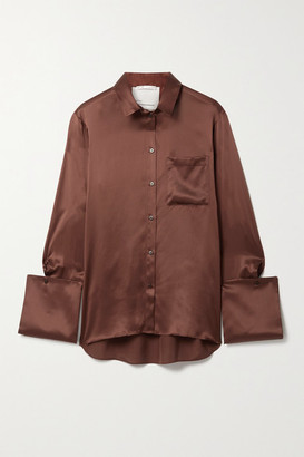BITE Studios Net Sustain Organic Silk-satin Shirt - Brick