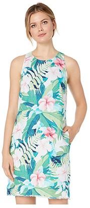 Tommy Bahama Hibiscus Hues Sleeveless Shift Dress (Bright Palm Green) Women's Clothing
