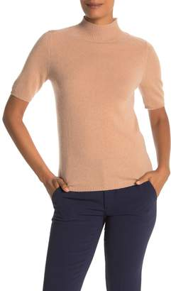 InCashmere In Cashmere Mock Neck Short Sleeve Cashmere Sweater
