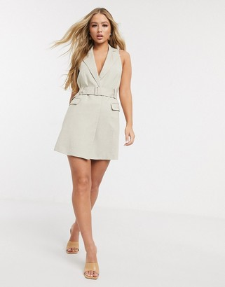 4th + Reckless sleeveless blazer dress with belt in sand