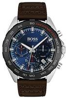 Hugo Boss Stainless-steel watch with black tachymeter and brown leather strap